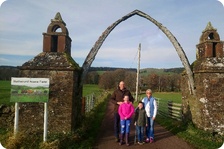 The Adamson Family from Netherurd Home Farm, pictured at the farm gate.